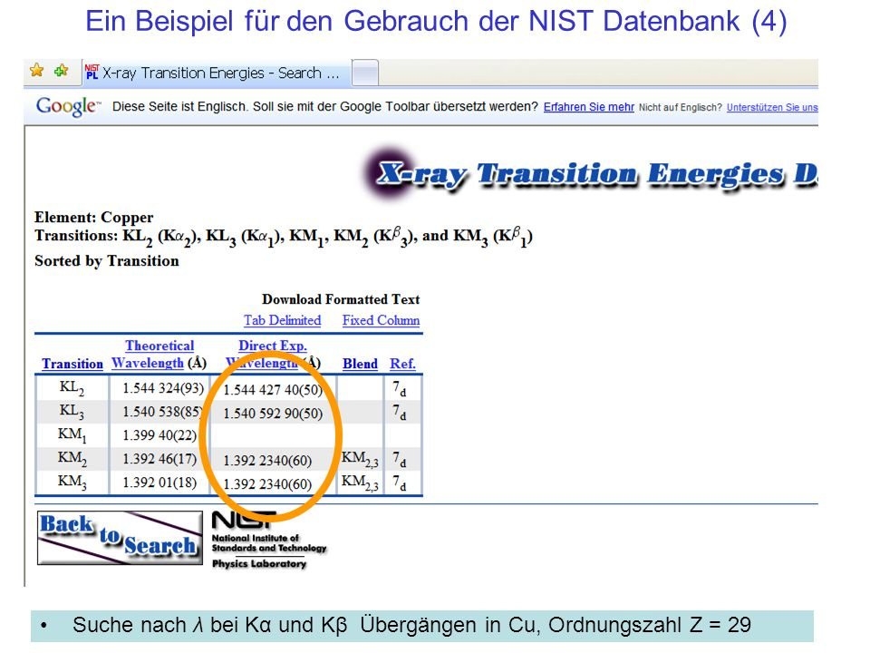 Ein Beispiel für den Gebrauch der NIST Datenbank (4)