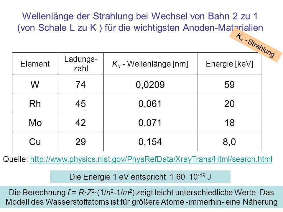 Die Energie 1 eV entspricht 1,60 ·10-19 J