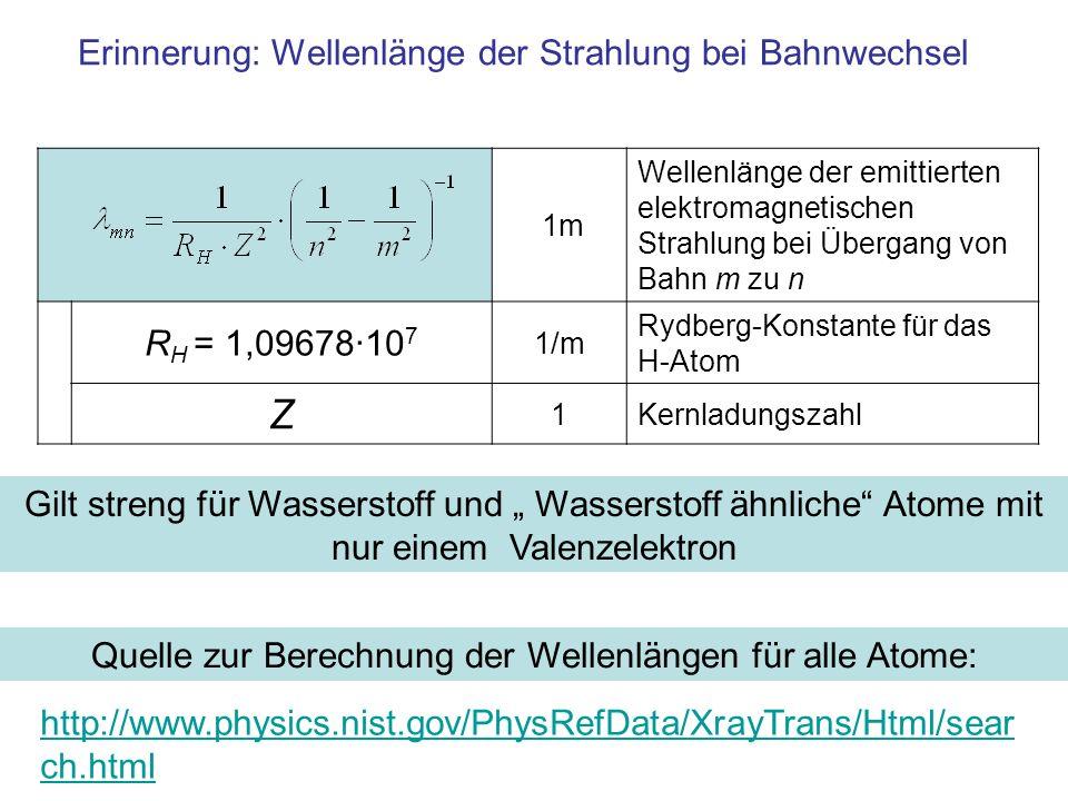 Erinnerung: Wellenlänge der Strahlung bei Bahnwechsel