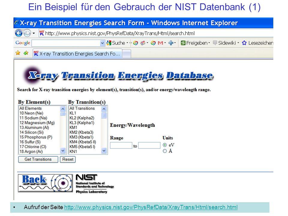 Ein Beispiel für den Gebrauch der NIST Datenbank (1)