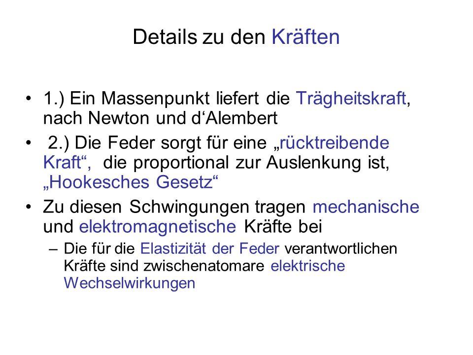 Details zu den Kräften 1.) Ein Massenpunkt liefert die Trägheitskraft, nach Newton und d'Alembert.