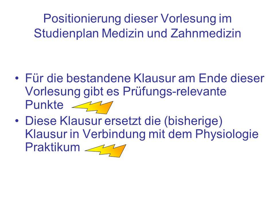 Positionierung dieser Vorlesung im Studienplan Medizin und Zahnmedizin