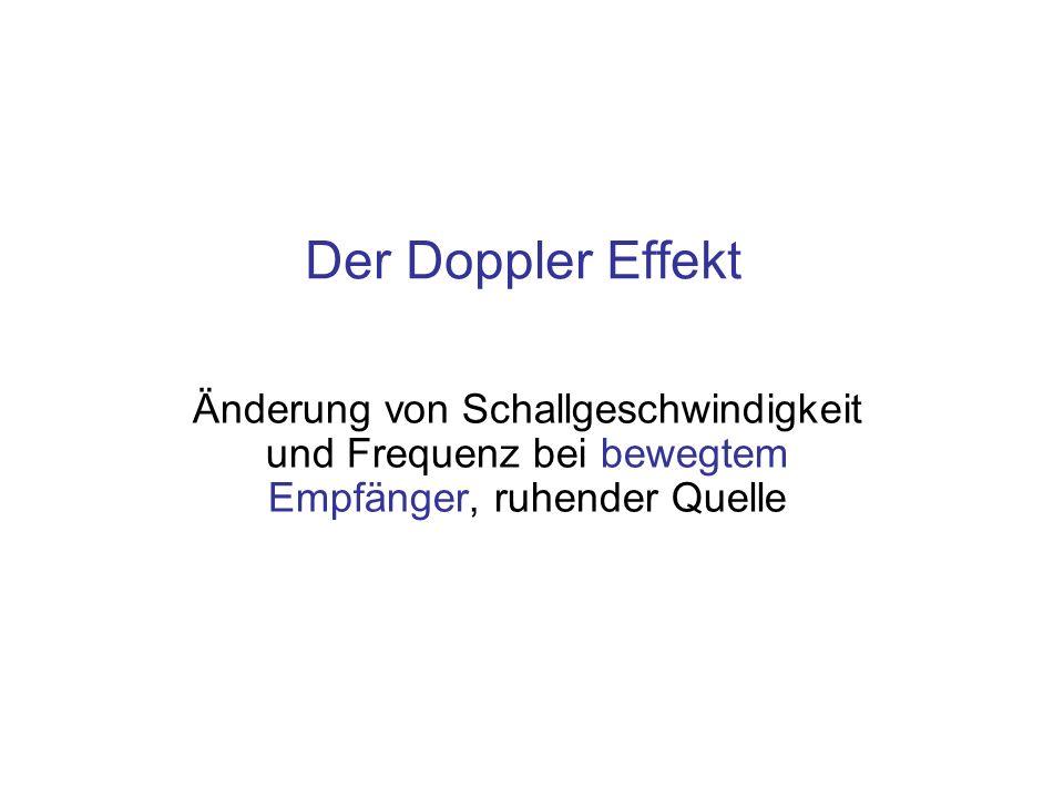 Der Doppler Effekt Änderung von Schallgeschwindigkeit und Frequenz bei bewegtem Empfänger, ruhender Quelle.