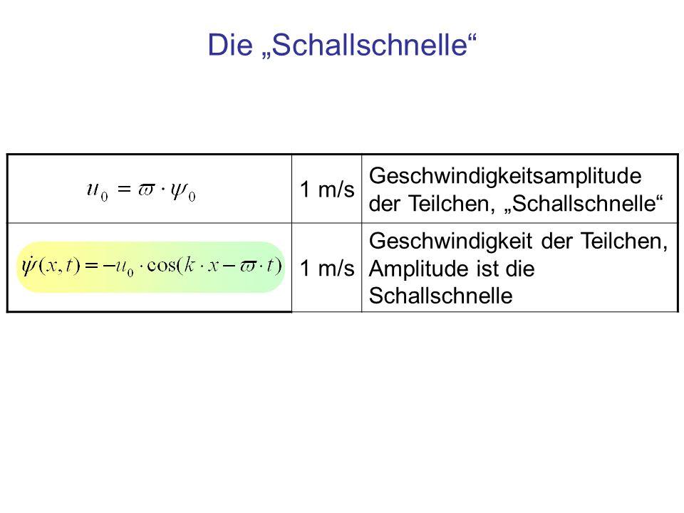 """Die """"Schallschnelle 1 m/s."""