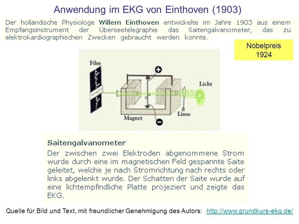 Anwendung im EKG von Einthoven (1903)