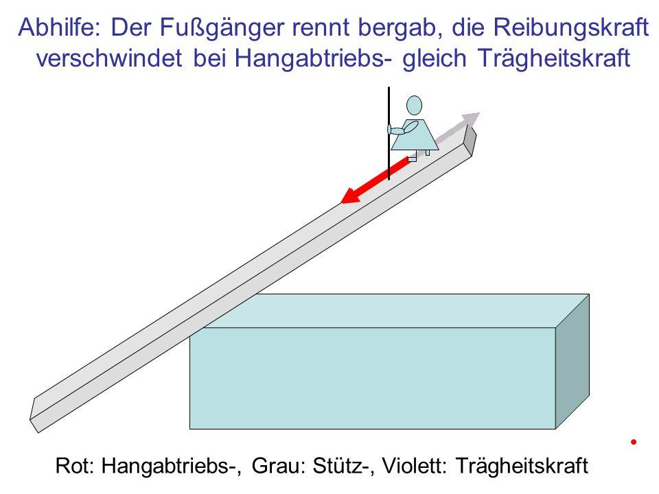 Rot: Hangabtriebs-, Grau: Stütz-, Violett: Trägheitskraft