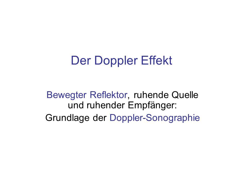Der Doppler EffektBewegter Reflektor, ruhende Quelle und ruhender Empfänger: Grundlage der Doppler-Sonographie.