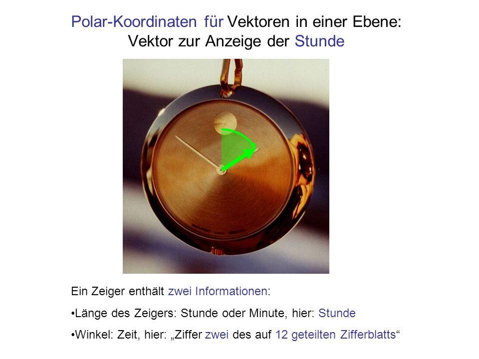 Polar-Koordinaten für Vektoren in einer Ebene: Vektor zur Anzeige der Stunde