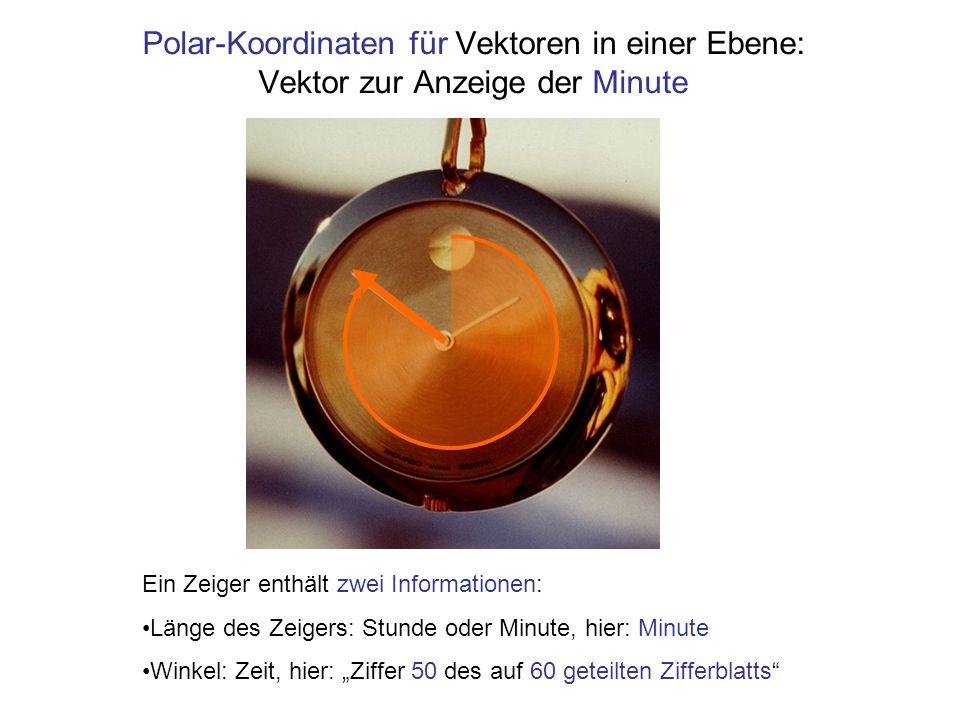 Polar-Koordinaten für Vektoren in einer Ebene: Vektor zur Anzeige der Minute