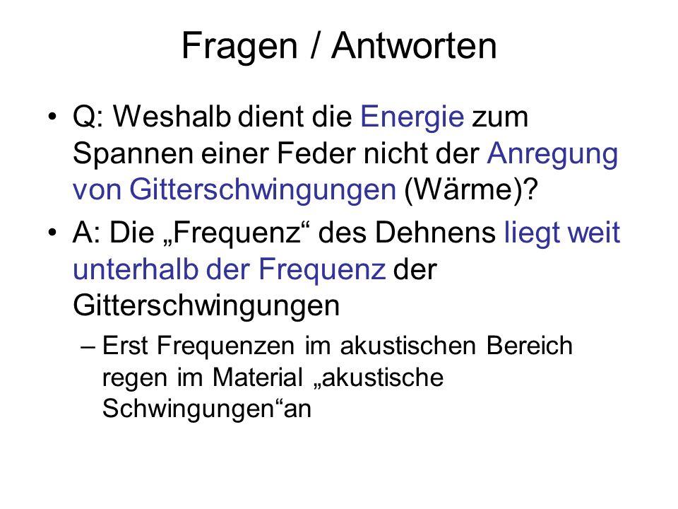 Fragen / Antworten Q: Weshalb dient die Energie zum Spannen einer Feder nicht der Anregung von Gitterschwingungen (Wärme)