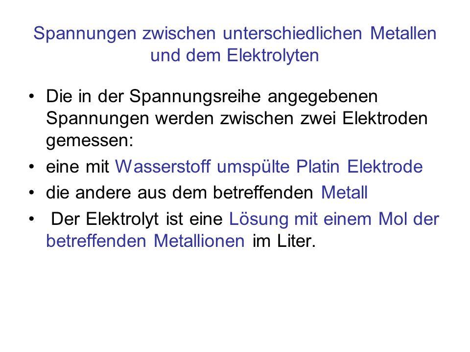 Spannungen zwischen unterschiedlichen Metallen und dem Elektrolyten