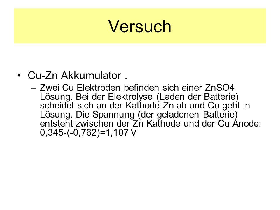 Versuch Cu-Zn Akkumulator .