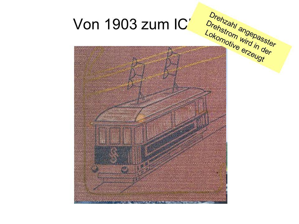 Drehzahl angepasster Drehstrom wird in der Lokomotive erzeugt