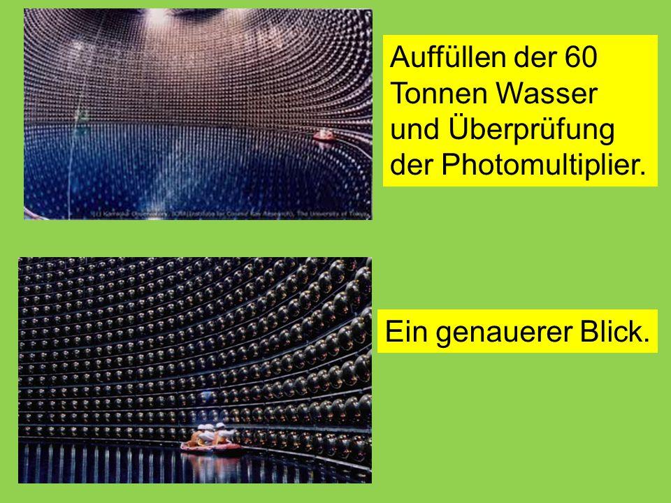 Auffüllen der 60 Tonnen Wasser und Überprüfung der Photomultiplier.