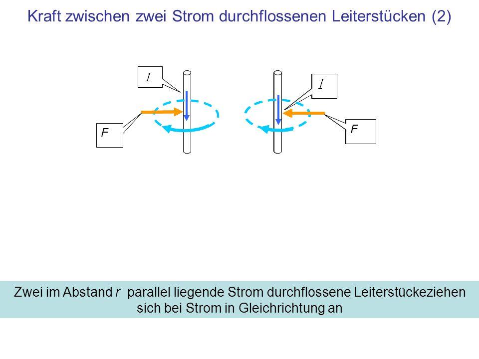 Kraft zwischen zwei Strom durchflossenen Leiterstücken (2)