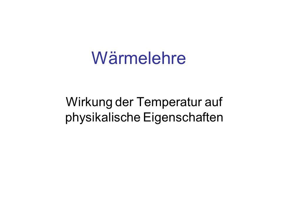 Wirkung der Temperatur auf physikalische Eigenschaften