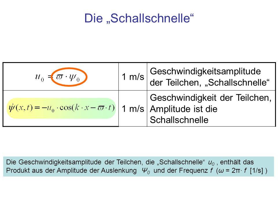 """Die """"Schallschnelle 1 m/s. Geschwindigkeitsamplitude der Teilchen, """"Schallschnelle Geschwindigkeit der Teilchen, Amplitude ist die Schallschnelle."""