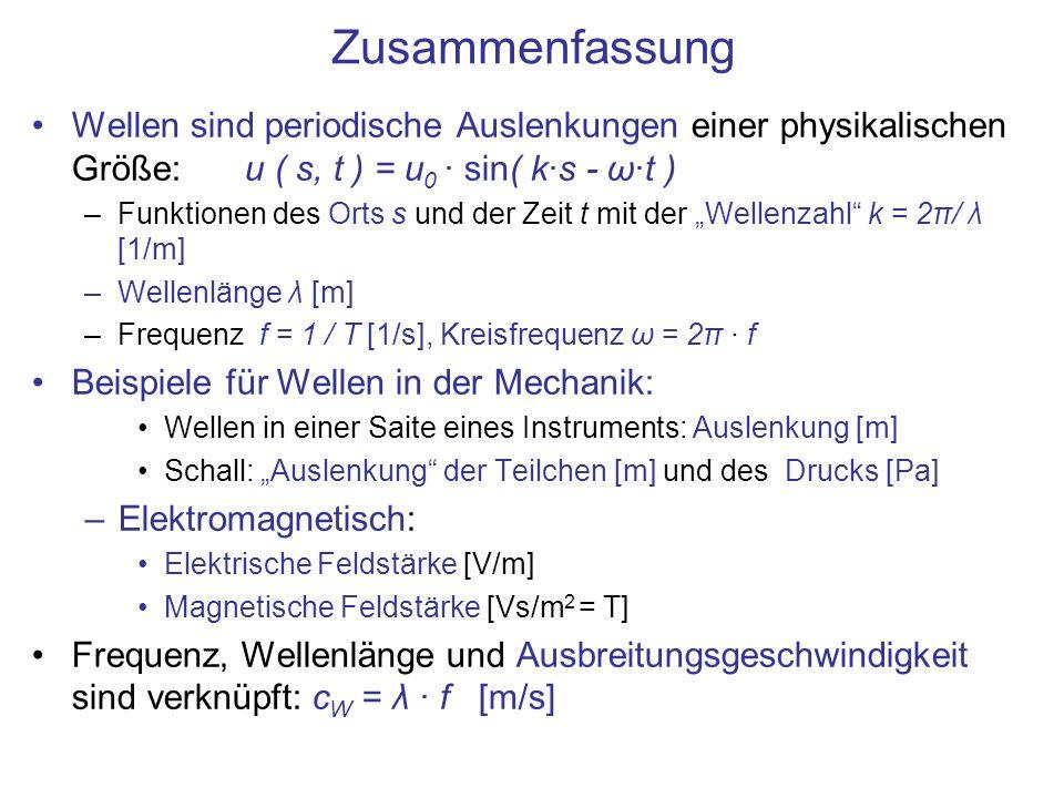 Zusammenfassung Wellen sind periodische Auslenkungen einer physikalischen Größe: u ( s, t ) = u0 · sin( k·s - ω·t )