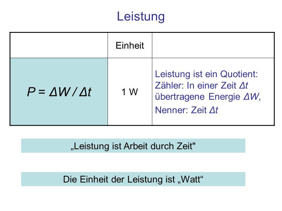 Leistung P = ΔW / Δt Einheit