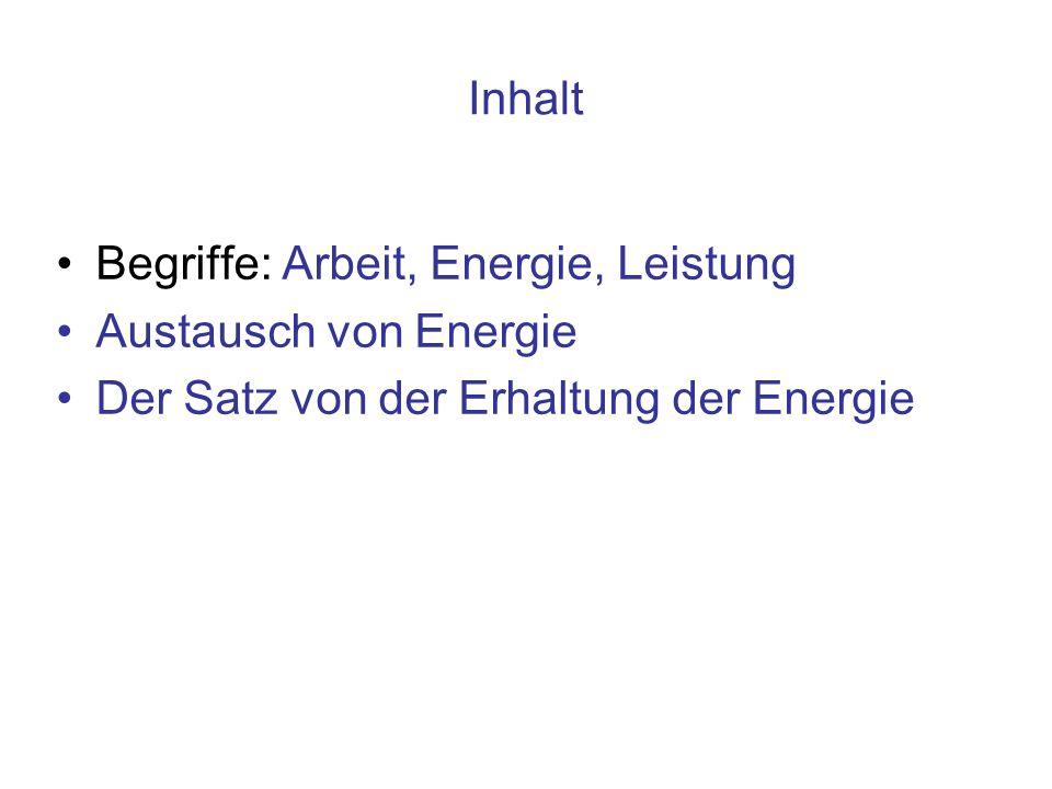 Inhalt Begriffe: Arbeit, Energie, Leistung. Austausch von Energie.