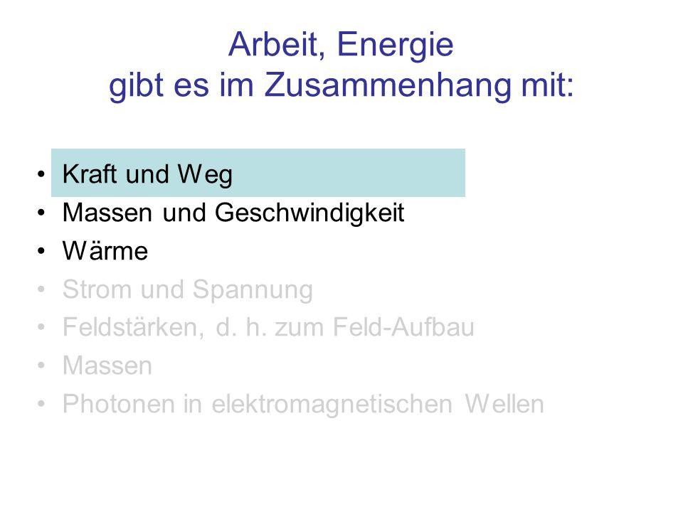 Arbeit, Energie gibt es im Zusammenhang mit: