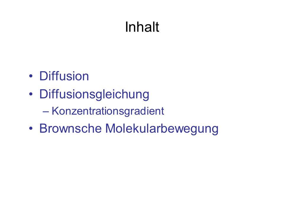 Inhalt Diffusion Diffusionsgleichung Brownsche Molekularbewegung
