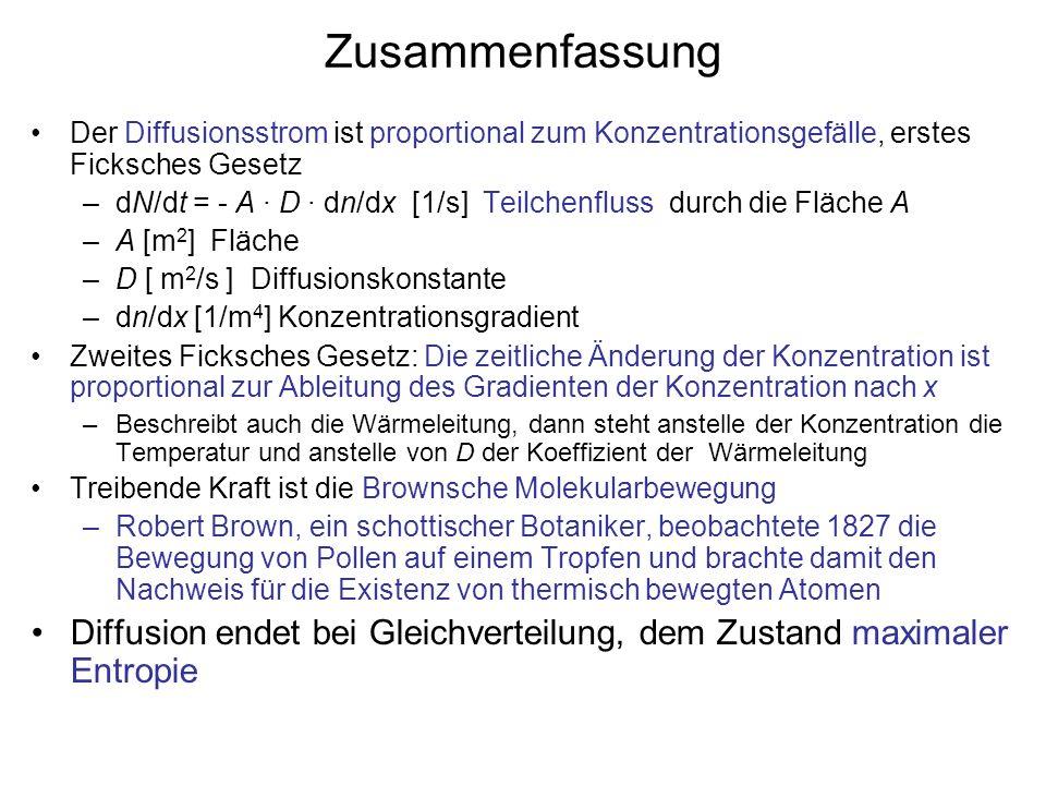 ZusammenfassungDer Diffusionsstrom ist proportional zum Konzentrationsgefälle, erstes Ficksches Gesetz.