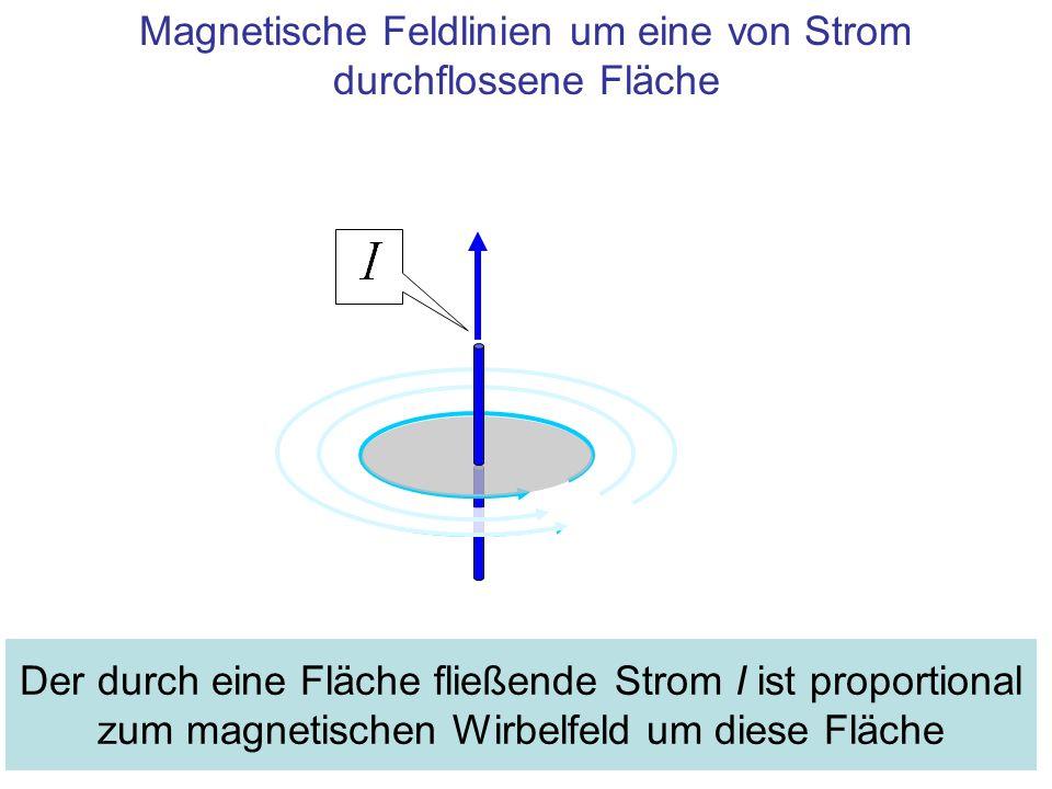 Magnetische Feldlinien um eine von Strom durchflossene Fläche