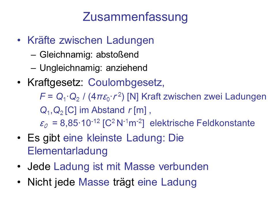 Zusammenfassung Kräfte zwischen Ladungen Kraftgesetz: Coulombgesetz,
