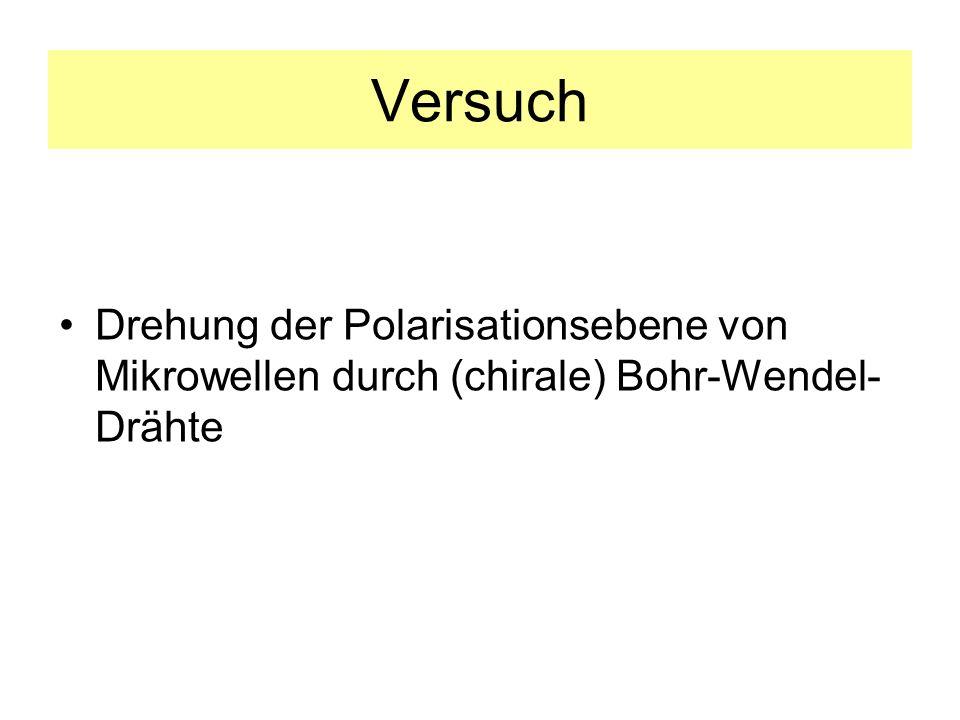 Versuch Drehung der Polarisationsebene von Mikrowellen durch (chirale) Bohr-Wendel- Drähte