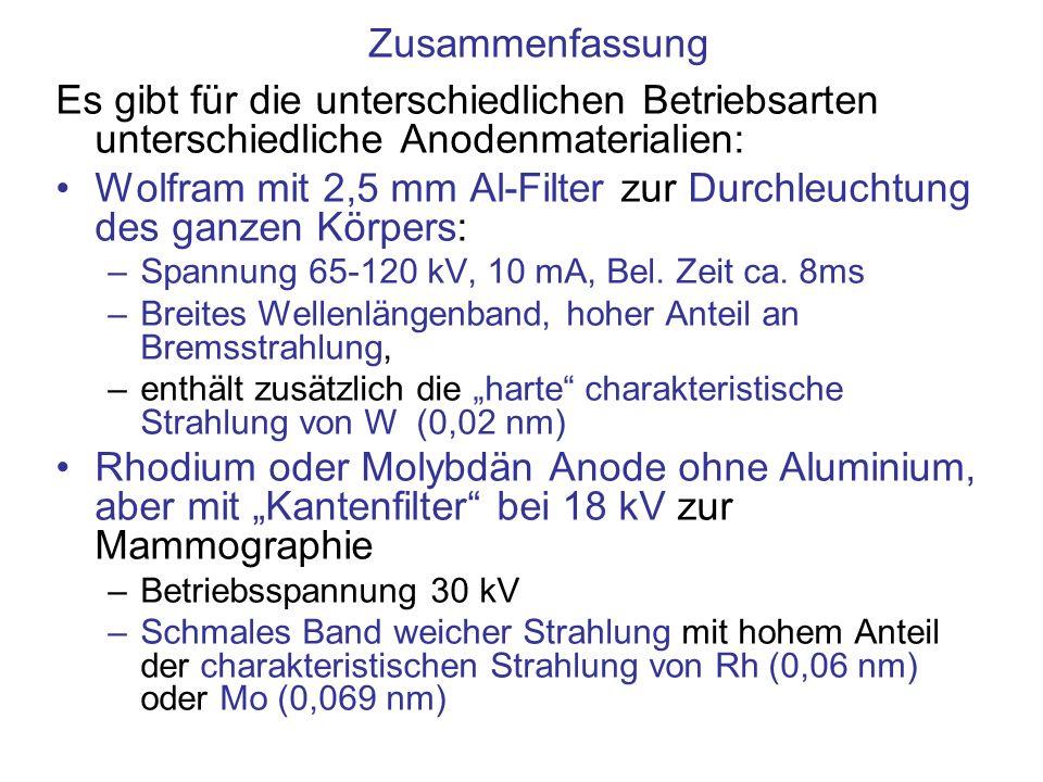 Wolfram mit 2,5 mm Al-Filter zur Durchleuchtung des ganzen Körpers: