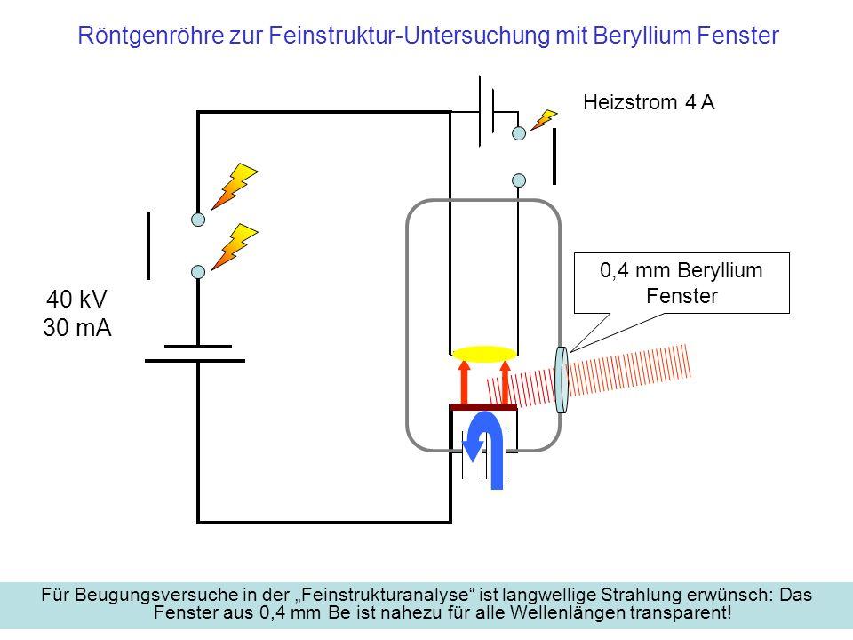 Röntgenröhre zur Feinstruktur-Untersuchung mit Beryllium Fenster