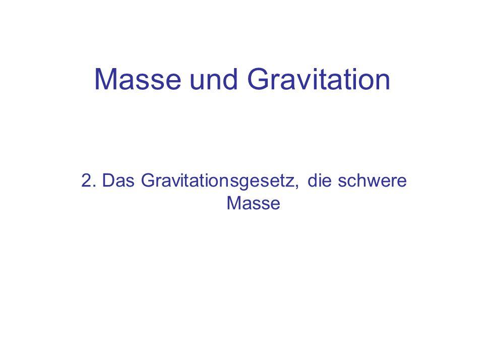 2. Das Gravitationsgesetz, die schwere Masse