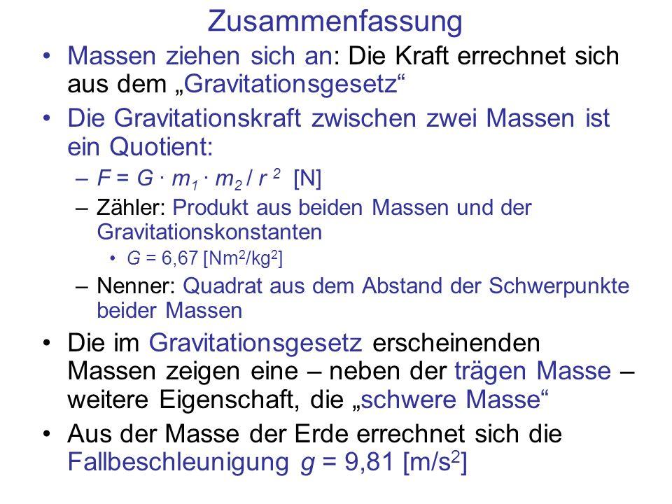 """Zusammenfassung Massen ziehen sich an: Die Kraft errechnet sich aus dem """"Gravitationsgesetz"""
