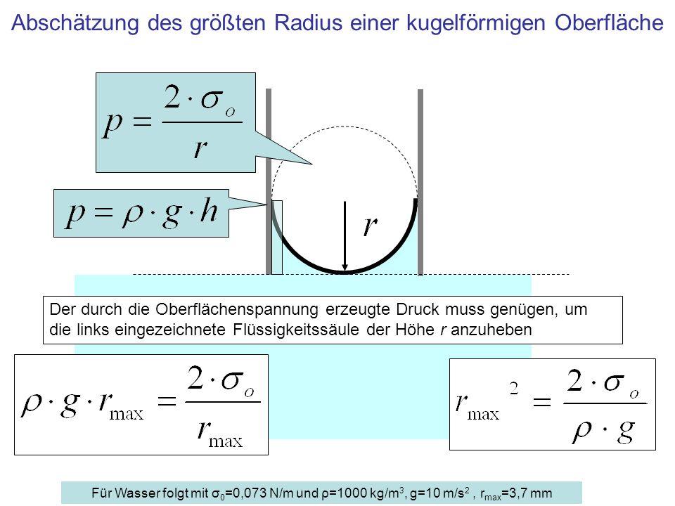 Abschätzung des größten Radius einer kugelförmigen Oberfläche
