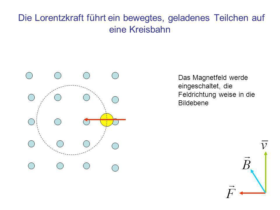 Die Lorentzkraft führt ein bewegtes, geladenes Teilchen auf eine Kreisbahn
