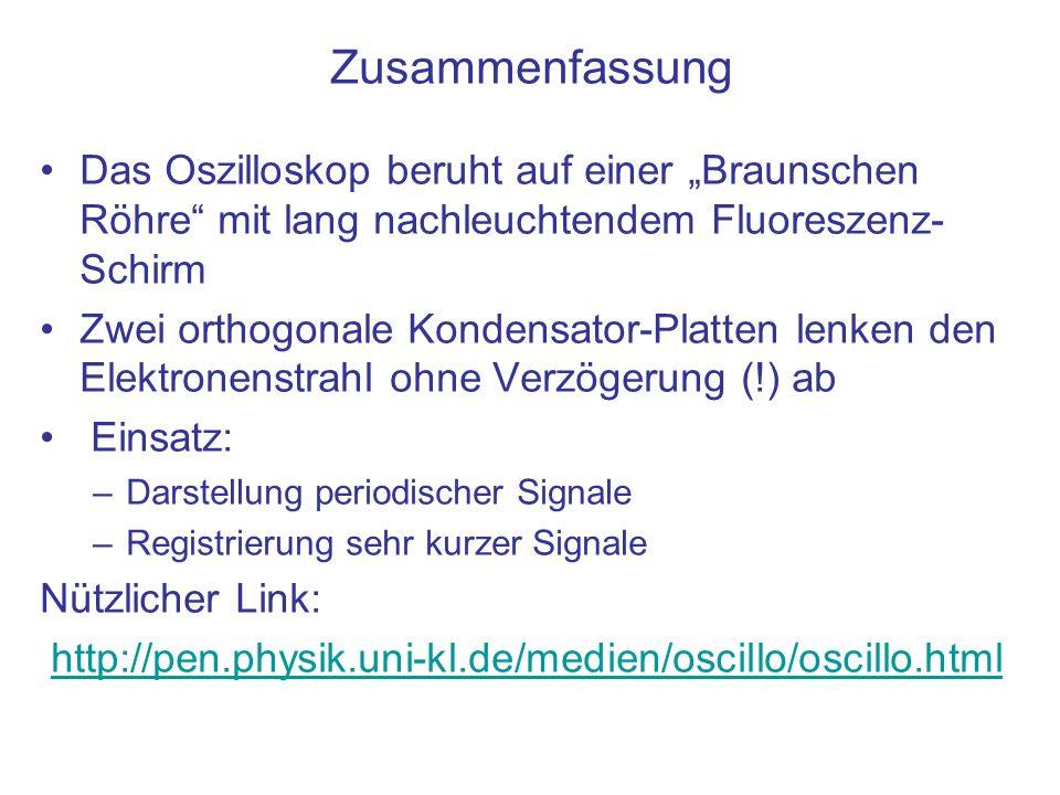 """Zusammenfassung Das Oszilloskop beruht auf einer """"Braunschen Röhre mit lang nachleuchtendem Fluoreszenz-Schirm."""