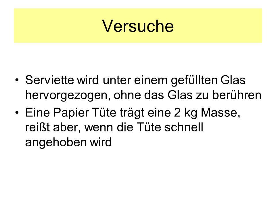 Versuche Serviette wird unter einem gefüllten Glas hervorgezogen, ohne das Glas zu berühren.