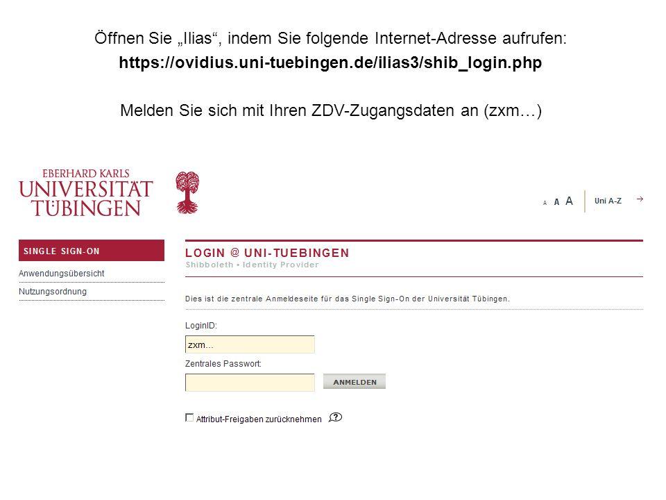 """Öffnen Sie """"Ilias , indem Sie folgende Internet-Adresse aufrufen:"""