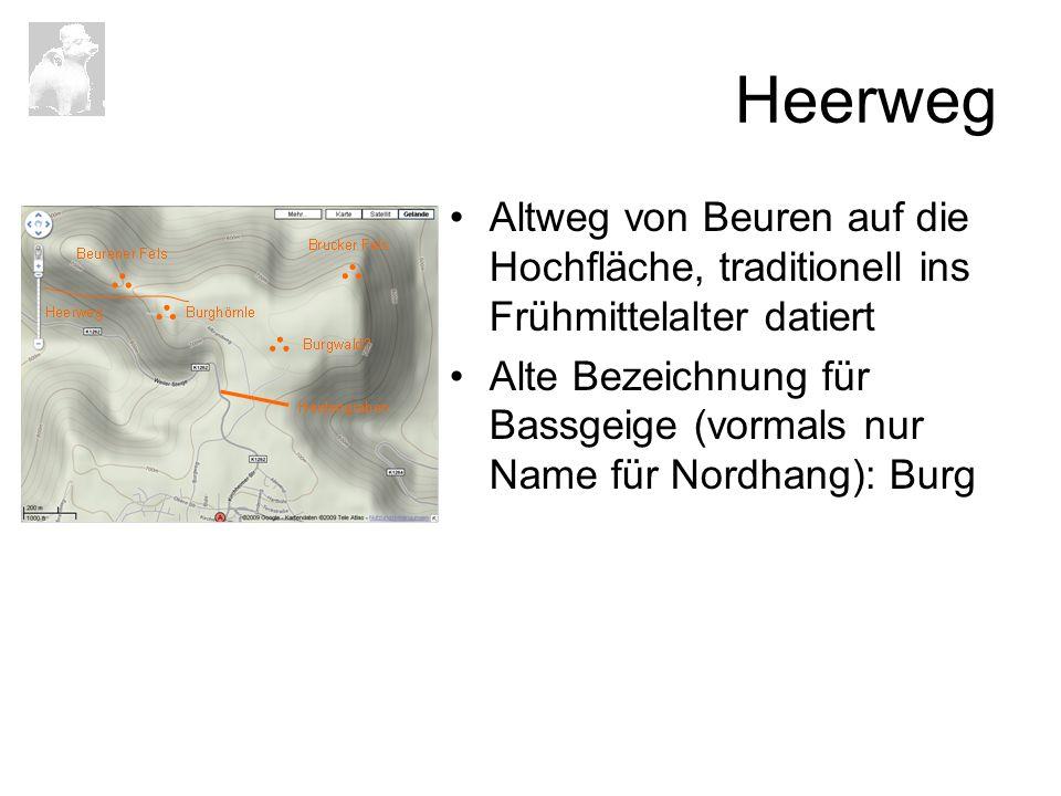Heerweg Altweg von Beuren auf die Hochfläche, traditionell ins Frühmittelalter datiert.