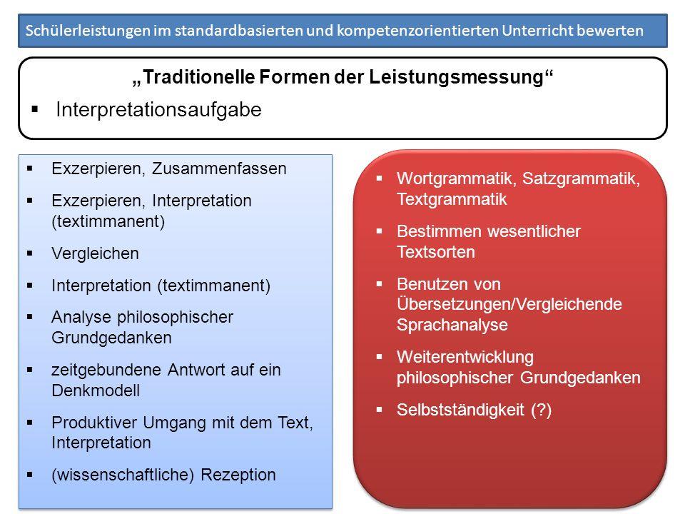 """""""Traditionelle Formen der Leistungsmessung"""