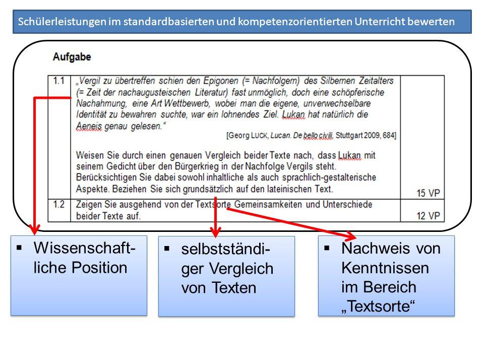 Wissenschaft- liche Position selbstständi- ger Vergleich von Texten