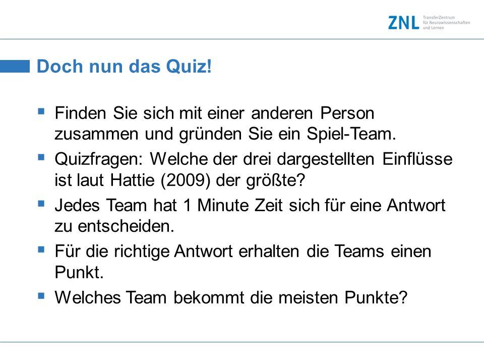 Doch nun das Quiz! Finden Sie sich mit einer anderen Person zusammen und gründen Sie ein Spiel-Team.