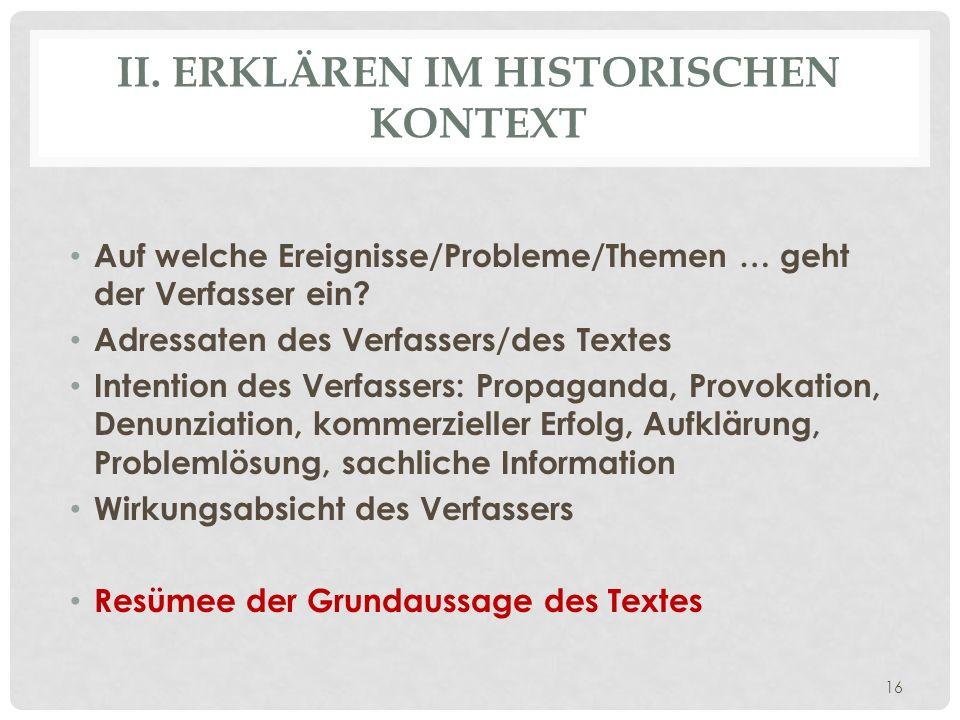 II. Erklären im historischen Kontext