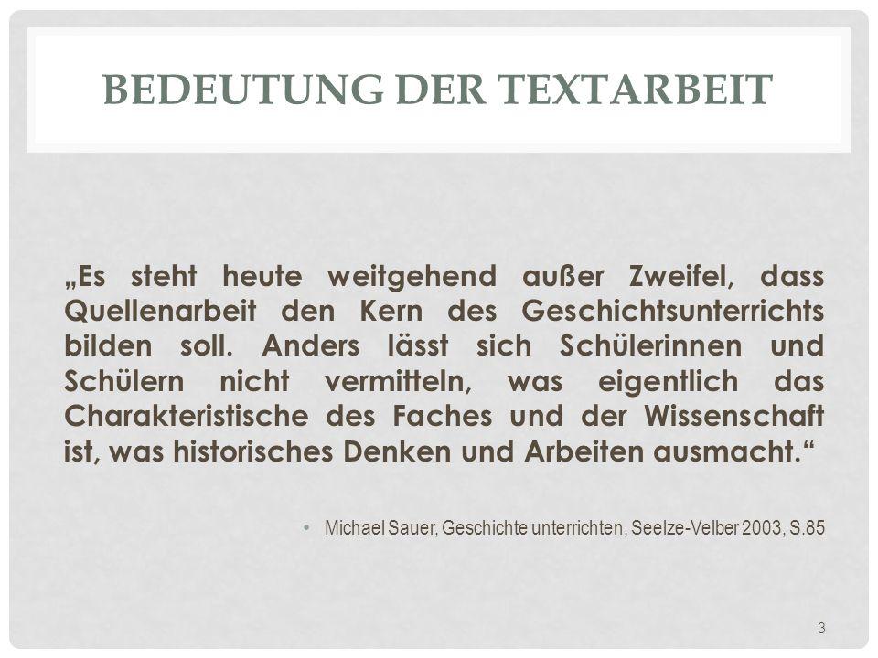 Bedeutung der Textarbeit