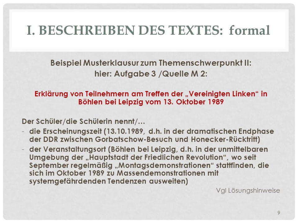 I. Beschreiben des Textes: formal