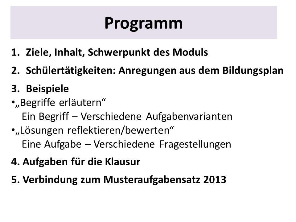 Programm Ziele, Inhalt, Schwerpunkt des Moduls