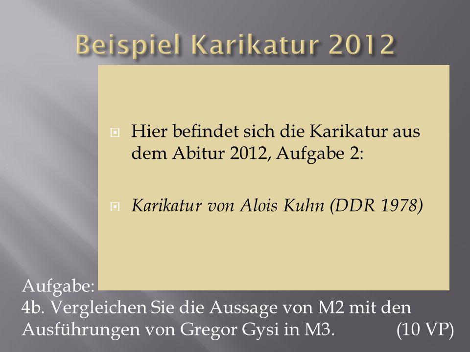 Beispiel Karikatur 2012 Hier befindet sich die Karikatur aus dem Abitur 2012, Aufgabe 2: Karikatur von Alois Kuhn (DDR 1978)