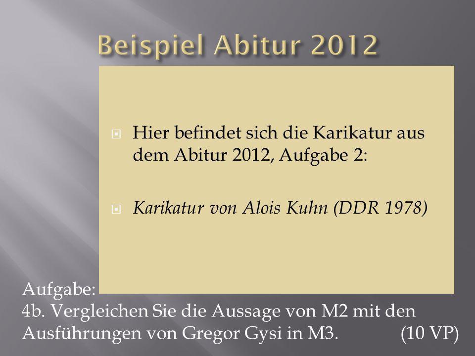 Beispiel Abitur 2012 Hier befindet sich die Karikatur aus dem Abitur 2012, Aufgabe 2: Karikatur von Alois Kuhn (DDR 1978)
