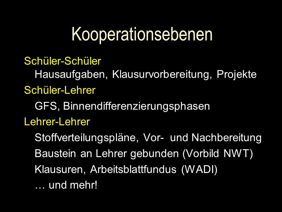 Kooperationsebenen Schüler-Schüler Hausaufgaben, Klausurvorbereitung, Projekte. Schüler-Lehrer. GFS, Binnendifferenzierungsphasen.